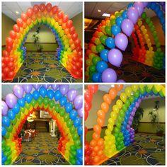 Balloon Decoration Ideas for Birthday Party . 30 Fresh Balloon Decoration Ideas for Birthday Party . Rainbow Balloon Decoration Arch by Teasha Birthday Balloon Decorations, Birthday Centerpieces, Rainbow Decorations, Birthday Balloons, Rainbow Birthday Party, Rainbow Theme, Birthday Party Themes, 7th Birthday, Balloon Display