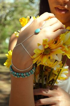 silver and turquoise slave bracelet