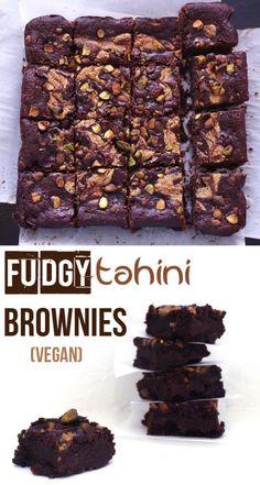 Fudgy Tahini Brownies (Vegan) | Zena 'n Zaatar