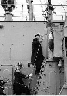 From right to left going up the stairs of ORP Mazur are President of Poland Ignacy Mościcki, Rear Admiral Józef Unrug and Captain Stefan Kryński. Photogaph taken 11 VII 1937 in port of Gdynia, Poland.