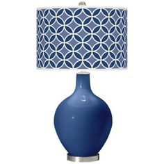 Monaco Blue Circle Rings Ovo Table Lamp -