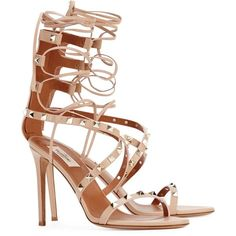 Valentino Rockstud 100 Blush Lace-up Sandals ($465) ❤ liked on Polyvore featuring shoes, sandals, strappy lace up sandals, lace up high heel sandals, studded sandals, leather sandals and strappy sandals