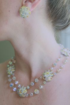 Crystal Bead Necklace and Earring set   signed by benjiboyvintage, $50.00