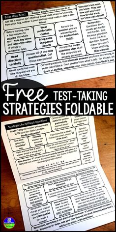 Taking tests is uncomfortable! Easily slipped into a notebook or binder, this flippable is jam packed with the best test-taking tips and strategies that I have collected over the years. Especially with Math, taking exams is very emotional. These tips and Test Taking Skills, Test Taking Strategies, Teaching Strategies, Teaching Study Skills, Comprehension Strategies, Reading Comprehension, Teaching Ideas, Staar Test, Colors
