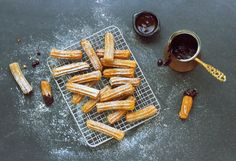 Baked Churros with Chilli Chocolate Sauce Baked Churros, Cinnamon Sticks, Finger Foods, Spices, Food And Drink, Plates, Chocolate, Baking, Vegetables