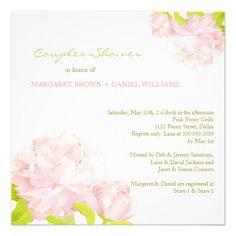 Lovely Spring Peony Wedding Couples Shower Invites #bridalshower #invitations