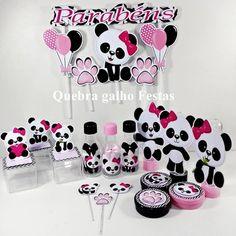 Lembrancinhas Panda Rosa kit 105 Itens - Promoção