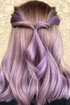 Hair Dye Colors, Cool Hair Color, Hair Color Balayage, Blonde Balayage, Lavender Hair, Hot Hair Styles, Hair Pictures, Hair Hacks, Hair Lengths