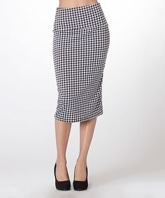 Loving this Black & White Houndstooth Pencil Skirt on #zulily! #zulilyfinds