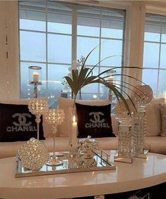 Nice Bedroom Inspired By Chanel diys Room decor, Glam living room, Living room decor Bedroom Glamor Ideas: Earth tone Modern Bedroom G. Glam Living Room, Living Room Decor Cozy, Glam Room, Interior Design Living Room, Living Room Designs, Bedroom Decor, Decorating Bedrooms, Living Rooms, Bedroom Modern