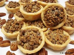 Mini Pecan Pie Tarts. Crust ½ cup (1 stick) butter, softened 3 ounces cream cheese 1 cup flour Filling 2 tablespoons butter, melted ¾ cup brown sugar 1 egg, beaten 1 teaspoon vanilla 1 cup pecan pieces
