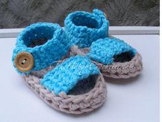 Sandals Crochet Pattern Summer Baby Booties por TheHappyCrocheter