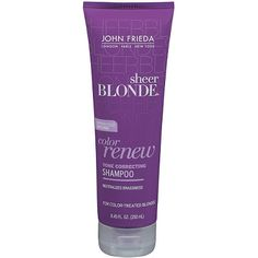 Sheer Blonde Color Renew Tone Restoring Shampoo by John Frieda renews color for noticeable brighter blonde in 3 washes. No Yellow Shampoo, Purple Shampoo, Beauty Care, Beauty Hacks, Hair Beauty, Beauty Tips, Bright Blonde, Blonde Color, Blonde Hair Care
