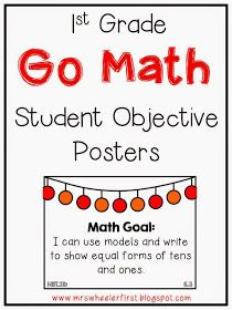 Wheeler's First Grade Tidbits: Go Math Objective/Goal Posters First Grade Classroom, 1st Grade Math, Math Classroom, Classroom Ideas, Classroom Posters, Grade 3, Math Lab, Go Math, Math Stations