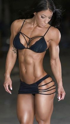 with ripped muscles sensual blonde Busty
