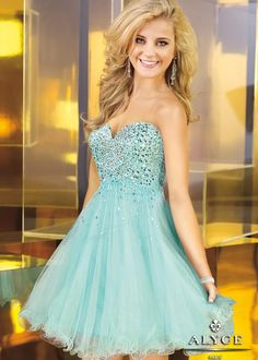 Alyce 3571 Sweet 16 Dress - CUTE Short Tulle Dress with a Sequin Bodice and a Sweetheart Neckline
