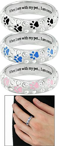 """""""I Am Complete"""" Swarovski Crystal Paw Ring~ Sometimes nothing is better than coming home to a patiently waiting, loving pet -- it has a way of making all the day's stress melt away. Wear a beautiful memento of your pet everywhere you go with this quietly glamorous piece."""