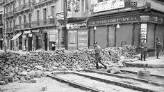 Barricada que defendía el centro del «Estat Català» proclamado en octubre de 1934 por Macià