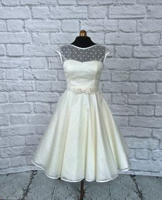 The Dotty silk tea length wedding dress by RyleyandFlynnVintage