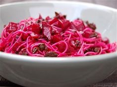 Beet & Greens Pasta--it's so satisfying using ALL parts of the beet and the lemon and red pepper flake combo was yummy. I'd never diced beets before--love it! You get all the flavor but it takes so much less time to cook!