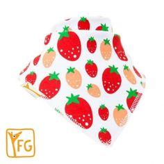 White With Red & Peach Strawberrys Bandana Bib