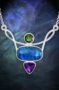 Crowned with an elegant forest green Moldavite facet, centered with strikingly blue polished Kyanite, and completed with a deep purple faceted Amethyst Crystal, this 80 Carat Sterling Silver Necklace is laden with precious jewels! In combination, these powerful healing stones can assist in balancing mind body and spirit, increasing intuition, and strengthening the resolve to change for the better!http://www.arkadiancollection.com/product/kyanite-amethyst-faceted-moldavite-necklace