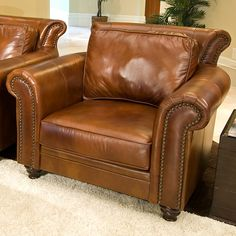 Elements Fine Home Furnishings Paladia Top Grain Leather Chair Leather Sofa Set, Leather Club Chairs, Leather Furniture, Furniture Decor, Leather Lounge, Country Furniture, House Furniture, Furniture Design, Home Furnishings