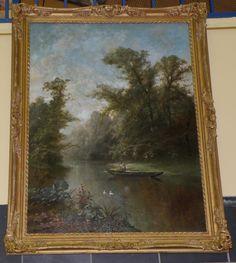Henri Joseph Ferdin, PIERON (1856-1912),  'Boating On A Quiet River (1881) oil on canvas 106.68 cm x 78.74 cm