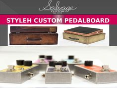 """The """"Buddy Holly"""" is simply a classic of the Salvage line.  The black walnut is crafted by hand and the case is wrapped in vintage style shellac'd tweed.The """"Old Mexico"""" is a real head turner and one of the coolest rigs in our line of original custom pedal boards.  The pedal board is crafted from exotic Padauk with an eye catching Retro Wave case."""