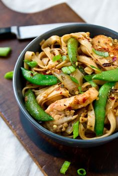 Chicken Lo Mein With Lo Mein Noodles, Oyster Sauce, Low Sodium Soy Sauce, Chicken Broth, Corn Starch, Red Pepper Flakes, Olives, Chicken Breasts, Ginger, Yellow Onion, Garlic, Green Onions, Snow Peas, Sesame Oil