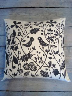 Cathryn Weatherhead | Shop - Two Birds Cushion | Illustrator based in Cardiff, South Wales. mono-printing, screen printing, collage, pencil and print...