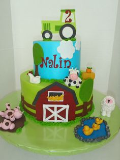 Farm Birthday Cake - Buttercream iced cake with fondant accents and figures.
