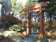 Japanese Garden with Arbor located in New Paltz, NY