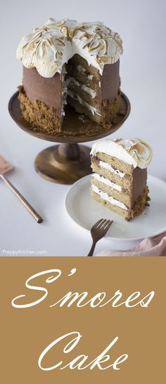 S'Mores Cake that is sweet and delicious. Perfect Birthday Cake and special occasions Easy Cake Recipes, Best Dessert Recipes, Cupcake Recipes, Easy Desserts, Sweet Recipes, Delicious Desserts, Cupcake Cakes, 6 Cake, Special Recipes