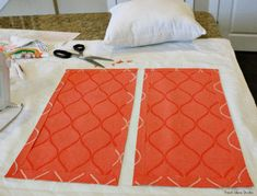 easy No Sew envelope Pillow cover Tutorial Cut the panel in 12 and iron in no-sew hem tape around all sides. Sewing Pillows, Diy Pillows, Decorative Pillows, Easy No Sew Pillow Covers, Throw Pillow Covers, How To Make An Envelope, Pillow Tutorial, Chair Covers, Slipcovers