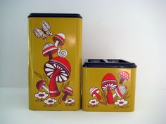 SALE// Retro mushroom canisters, kitchen canisters, metal