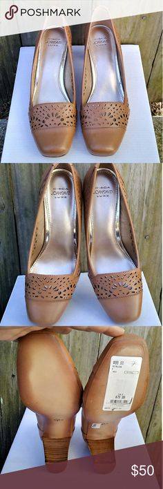 Circa Joan & David Luxe Tan Heels laser cut size 7 Circa Joan & David Luxe  Tan / Cocoa color Block heel Laser cut detail  Heel 2.5 inch New with tag on bottom Joan & David Shoes Heels