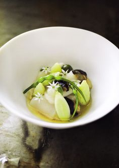 Poached Sea Scallops, lettuce hearts, periwinkles, oyster cream and scallop velvet - Quay cookbook by Peter Gilmore