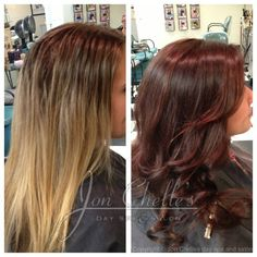 Rich warm brown hair color with red undertones (before and after) by Julia Winstead. #Aveda #Avedacolor