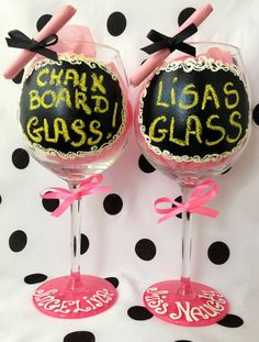 Personalised Hand Painted Wine Glass goblet  Flute by AlenaShop, $32.99 chalk board coated hen party ideas bachelorette bridal bride & groom personalized diy secy fun dinnet table foodporn