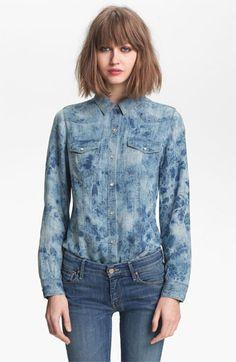 Trouvé Acid Wash Denim Shirt | Nordstrom