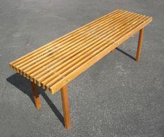 Vintage Mid-Century Modern Teak Plank Outdoor Bench