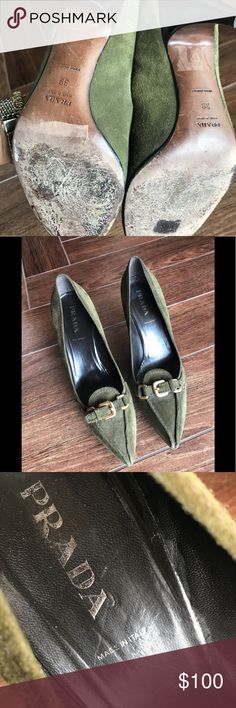 Prada Shoes Olive green ,good quality suede, light feather construction. No scratches, scuffs nor stains. Worn 2x. Soles look more worn because they are leather. Heels are 3 inches high. An eye catching statement accessory especially if style is minimalist . Per Neiman Marcus theme this season, a must have is a pair of pointy shoes. Shoes Heels