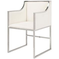 A sleek and stunning silhouette adds a modern accent to any living or dining room. Polished nickel in open geometric shapes shines in brilliant balance with plush white linen upholstery. This artistic armchair brings comfort and warmth with Hollywood Regency panache.