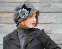 Cloche Hat Winter Gray Wool Slouchy Bucket by GreenTrunkDesigns