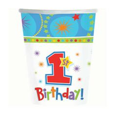 1st Birthday Boy Cups (8) $1.85