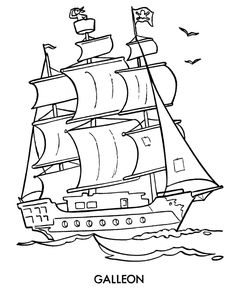 Pirate Ship Coloring Pages | These cartoon pirate coloring pages are fun to color for younger kids ...