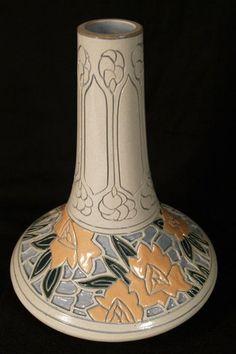 roseville della robbia | Rare Roseville Rozane Della Robbia Carved Arts & Crafts Pottery Vase ... Roseville Pottery, Pottery Vase, Glass Ceramic, Ceramic Art, Candlesticks, Candelabra, Arts And Crafts Movement, Vases Decor, Creative Crafts