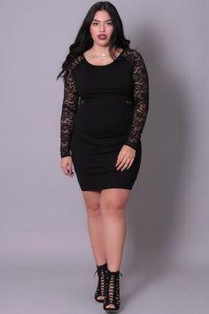 Plus Size Lace Sleeve Bodycon Dress - Black