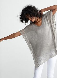 Crochet Side Stitch V-Neck Boxy Tunic in Linen Delave Jersey with Lace Trim, Eileen Fisher - Crochet Shawl, Knit Crochet, Crochet Braid, Crochet Summer, Summer Knitting, Boho Inspiration, Sewing Clothes, Crochet Clothes, Eileen Fisher